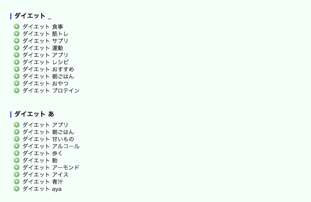 Googleサジェスト検索結果履歴│ダイエット│