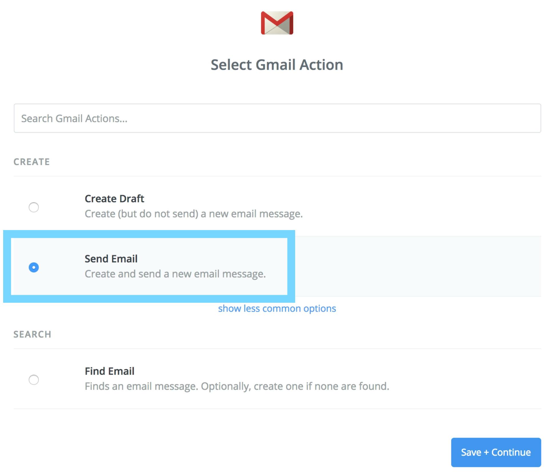 「Select Gmail Action」でアクションを選択する