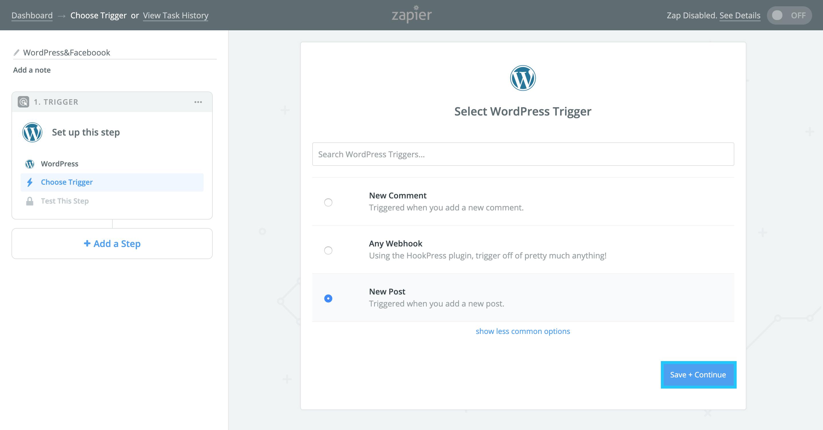 Zapierで「Select WordPress Trigger」で「New Post」を選択し「Save Continue」する