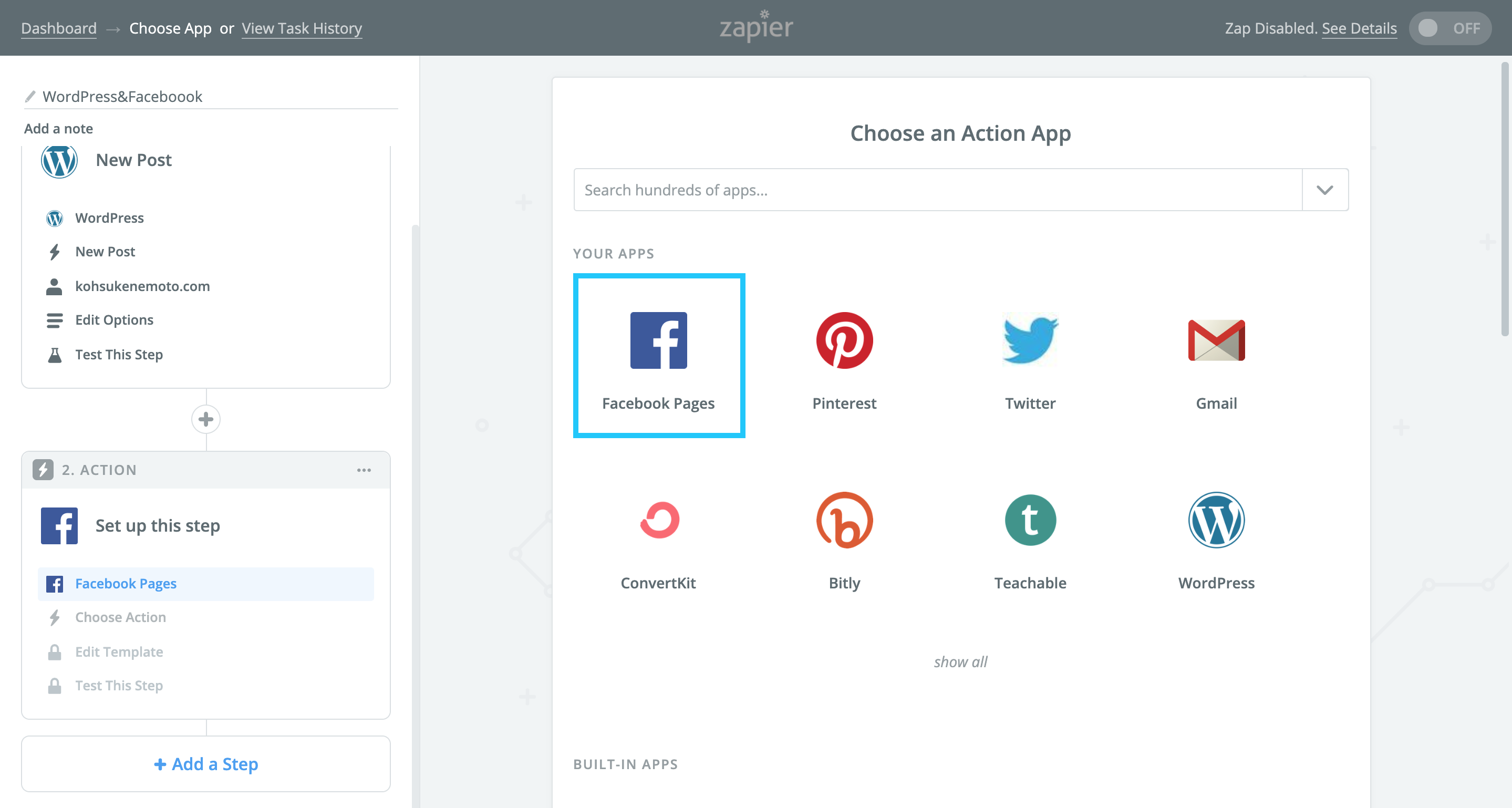 Zapierの「Choose an Action App」で「Facebook Pages」を選択する