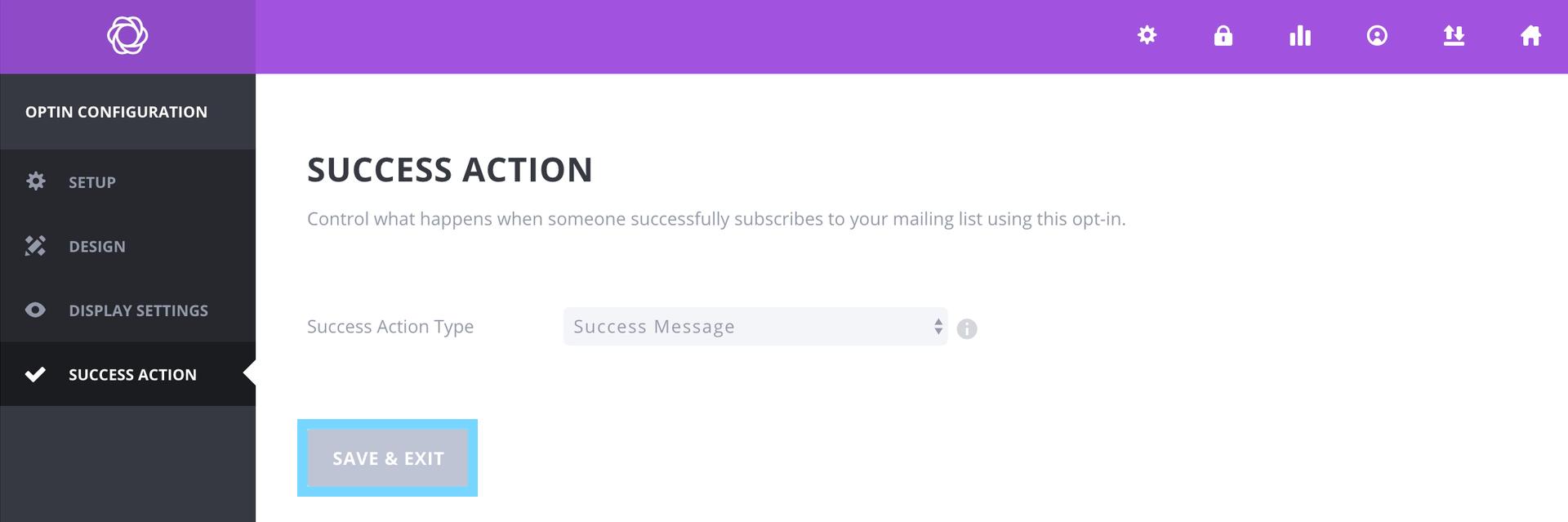 Pop upフォームでSuccess Actionを設定する