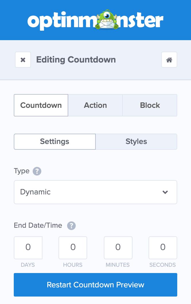 OptinMonsterで「Dynamic」を選択した場合は「End DateTime」を設定する