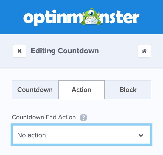 OptinMonsterでカウントダウンが終わった後のアクションを設定する