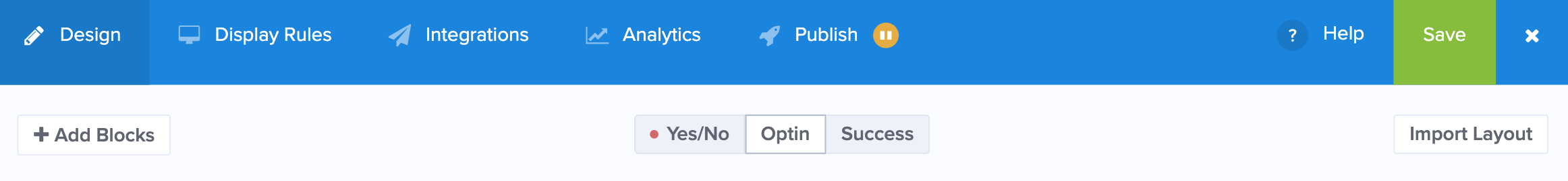 OptinMonsterでポップアップのタイプを選択する