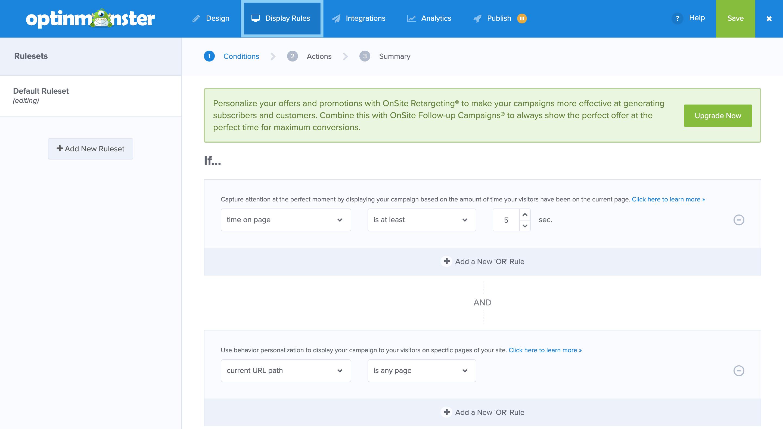 OptinMonsterでポップアップの表示条件を設定する