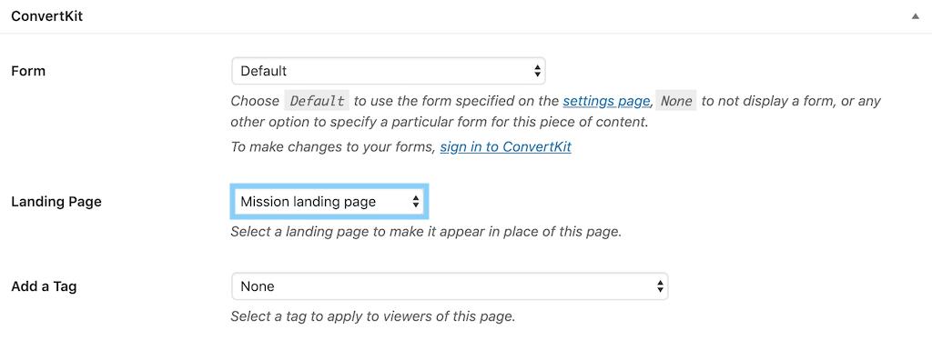 固定ページでConvertKitのランディングページを選択する