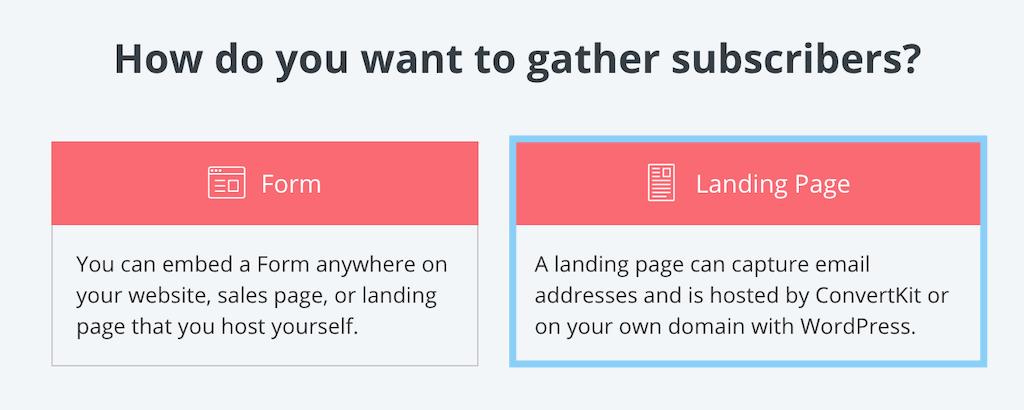 ConvertKitでFormかLanding Pageを選択