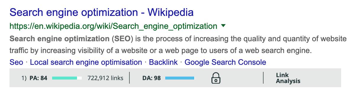 MozBar Google検索