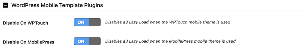 a3 Lazy LoadのWordPress Mobile Template Pluginsの設定