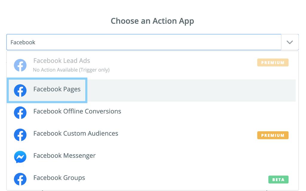 アクションアプリでFacebook Pagesを選択する