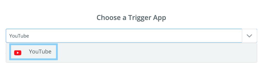 トリガーアプリを選択する