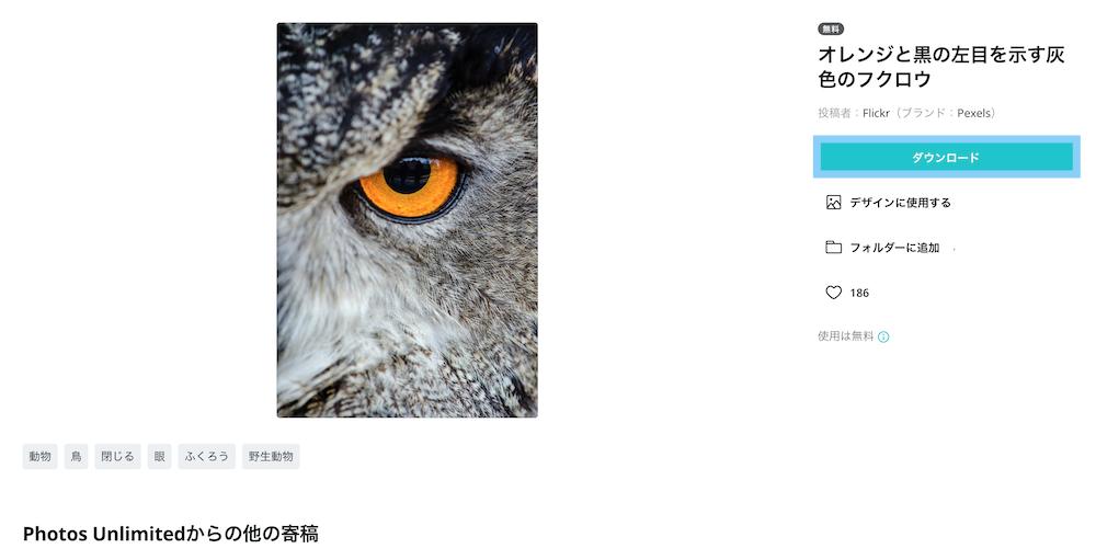 Canvaの「写真」で画像をダウンロードする