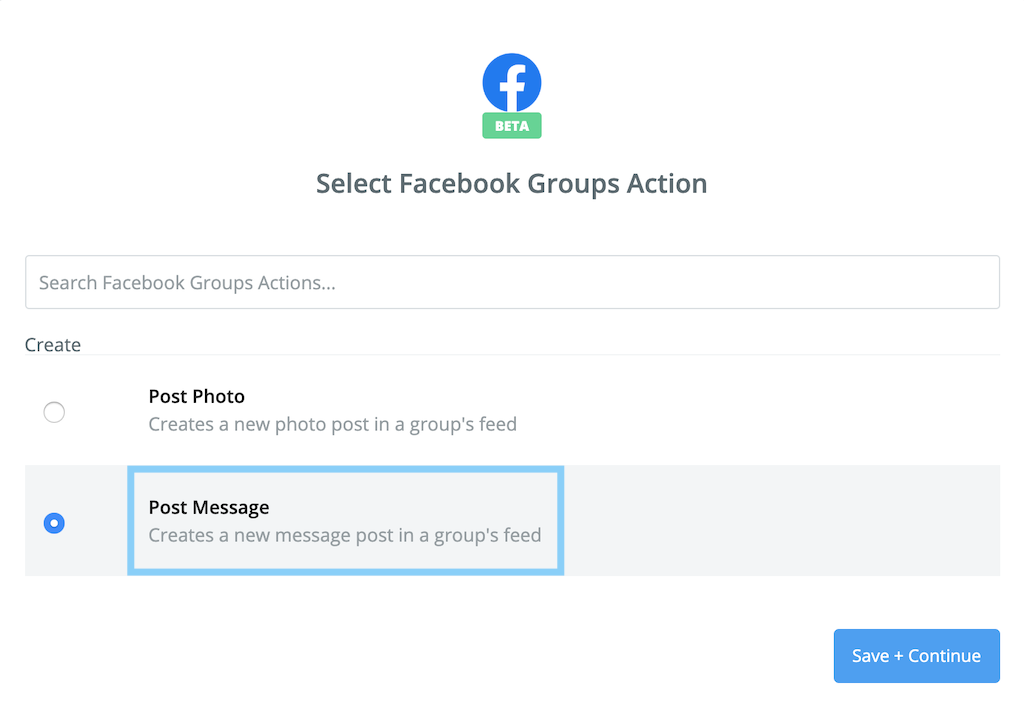 Select Facebook Groups ActionでPost Messageを選択する