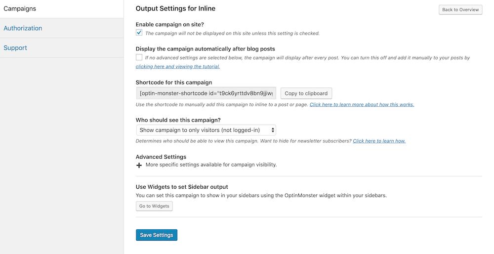 WordPressでOptinMonsterのキャンペーンの表示設定