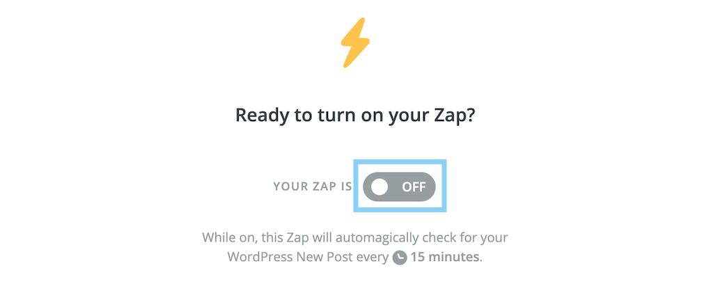 ZapをOFFからONに切り替える