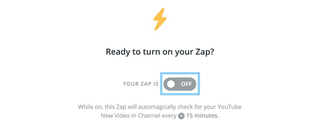 ZapをOnに切り替える
