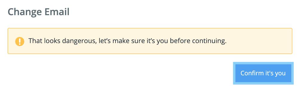 ZapierのEメールアドレスを変更する前に「Confirm its you」をクリック