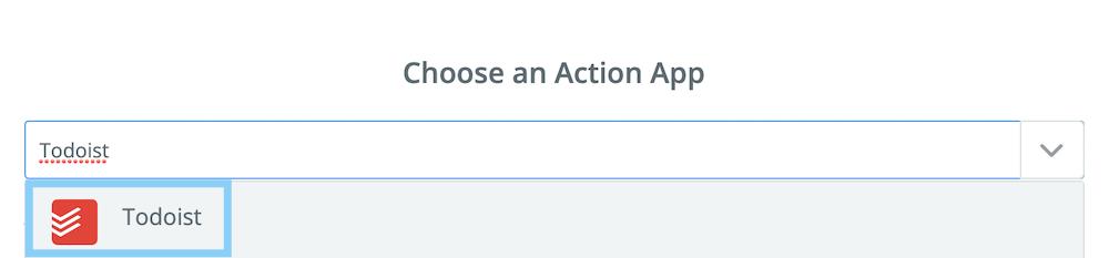 アクションアプリとしてTodoistを選択する