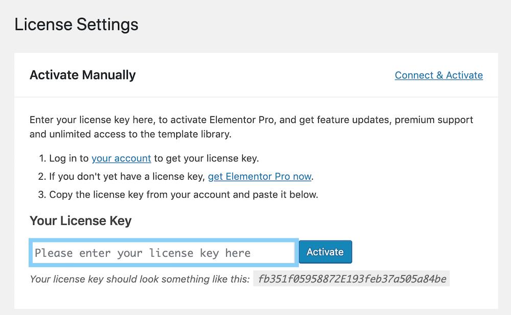 Elementor Proのライセンスキーを入力して連携する
