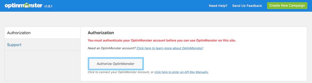 OptinMonsterプラグインのAuthorize OptinMonsterボタンをクリックする