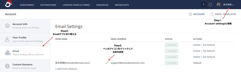 ConvertKitで送信者の名前を変更する方法