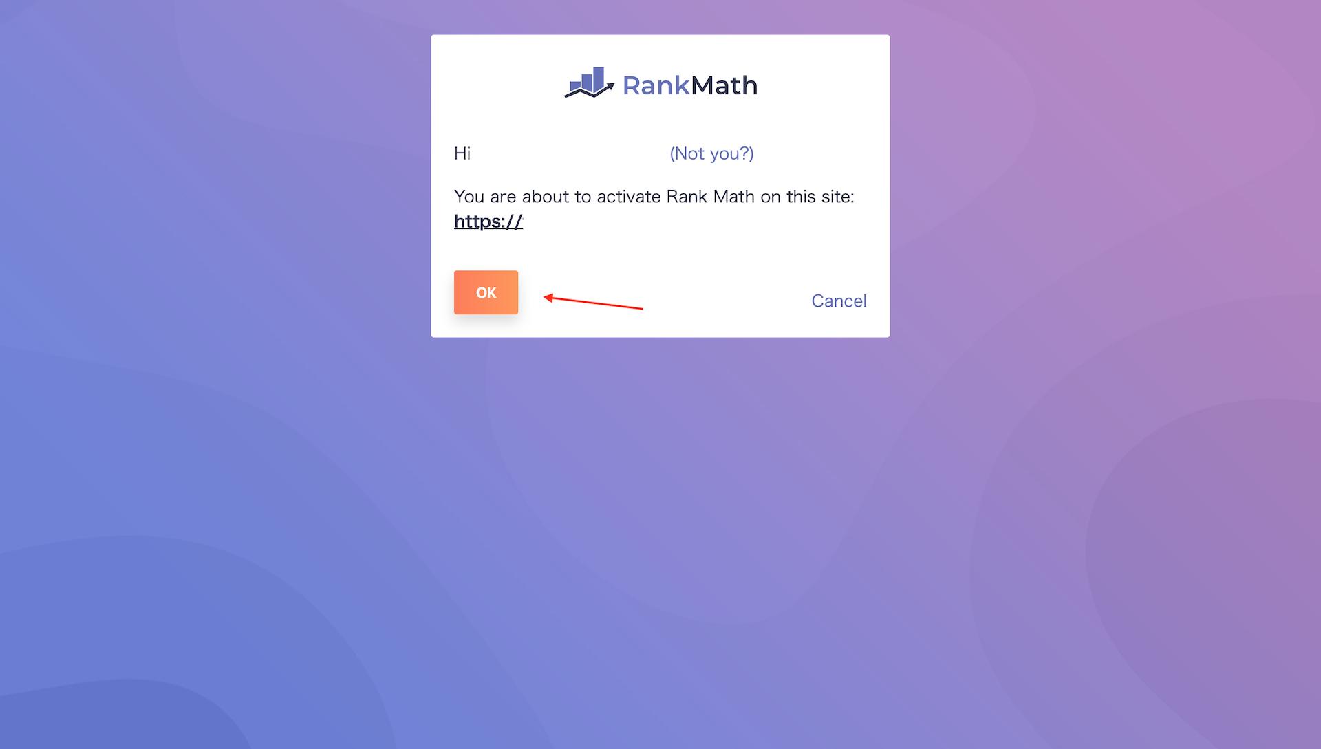 Rank Mathの画面でOKボタンをクリックする