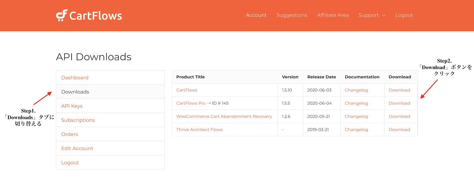 CartFlows Proのダウンロードページ
