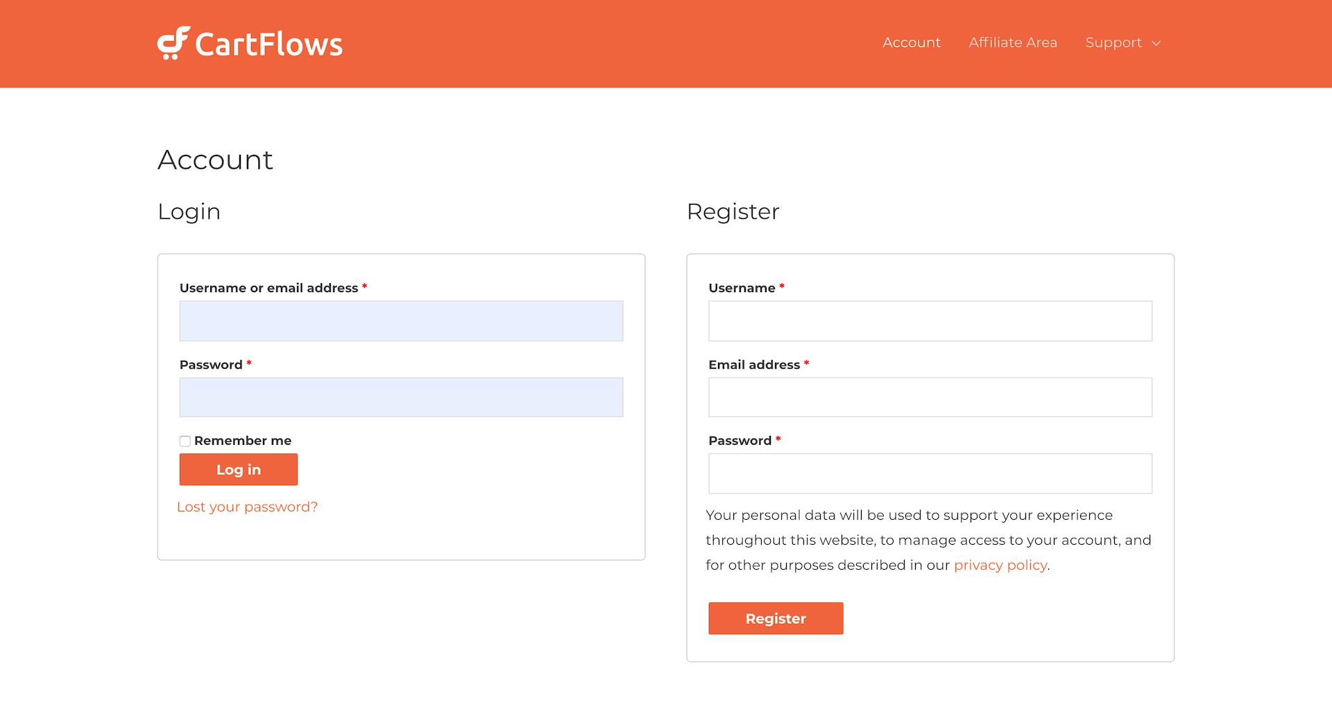 CartFlows Proのログインページ