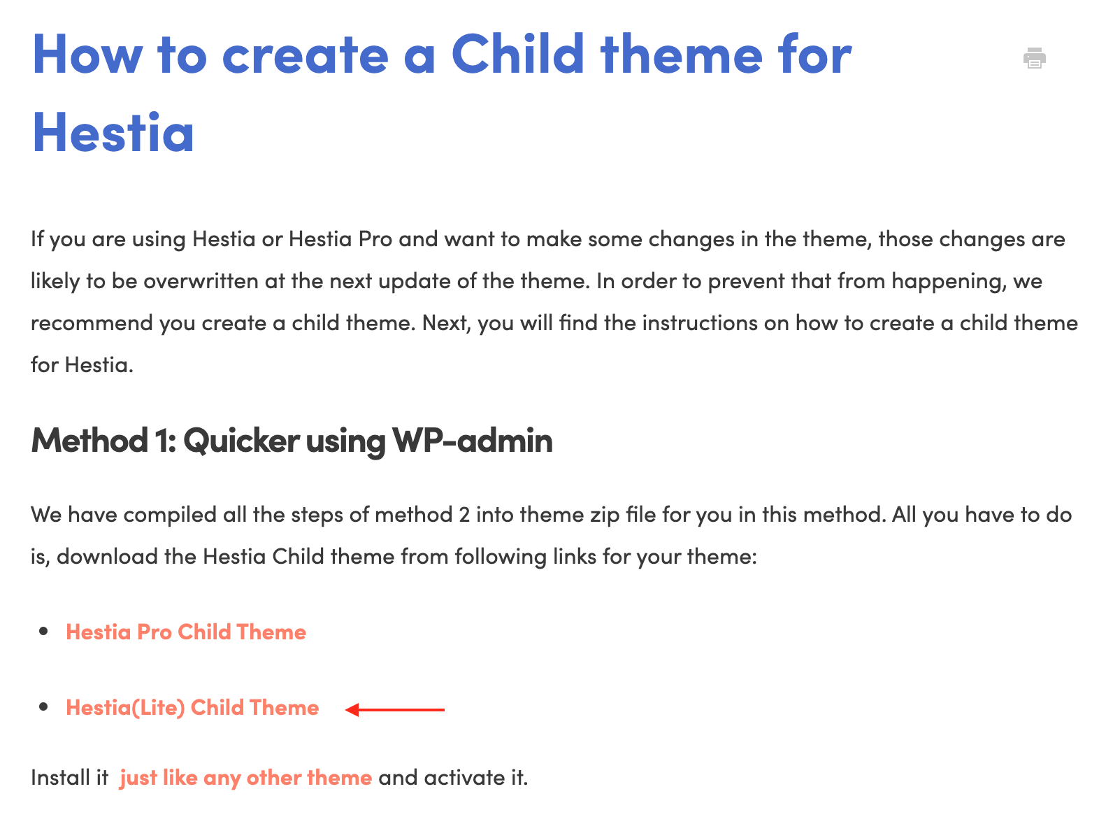 Hestia Child Theme