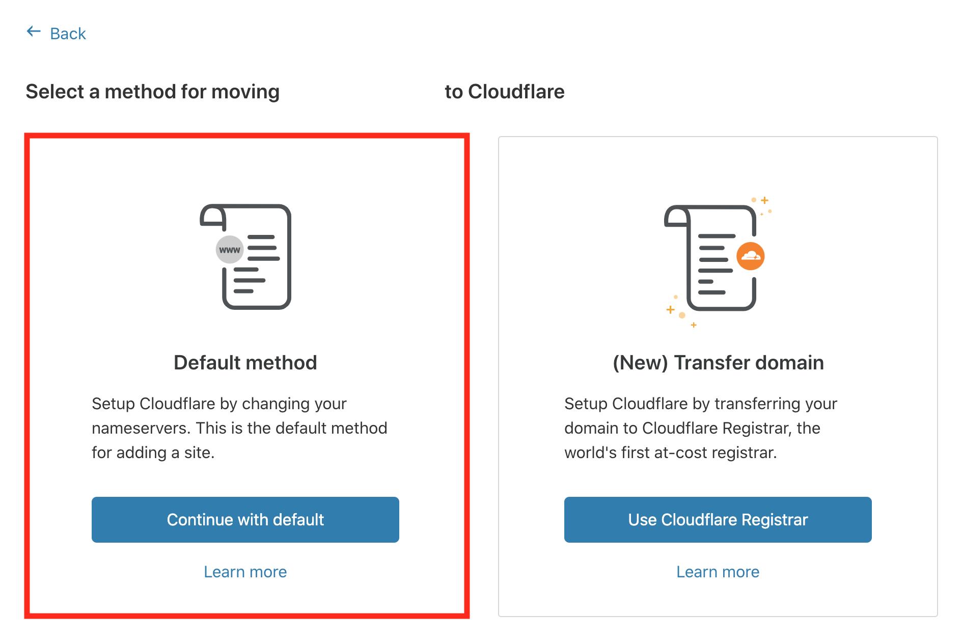 06 Cloudflareでネームサーバーを変更する方法を選択