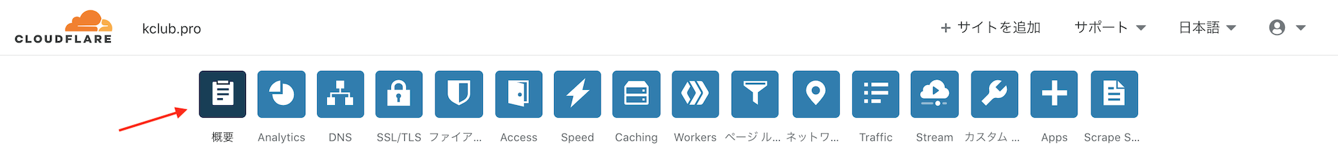 Cloudflareの「概要」ページに移動