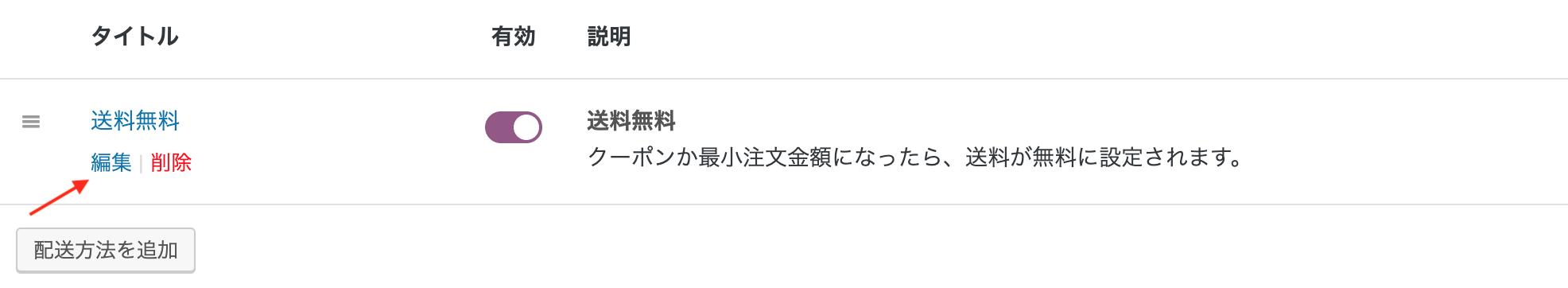 WooCommerce 送料無料の「編集」