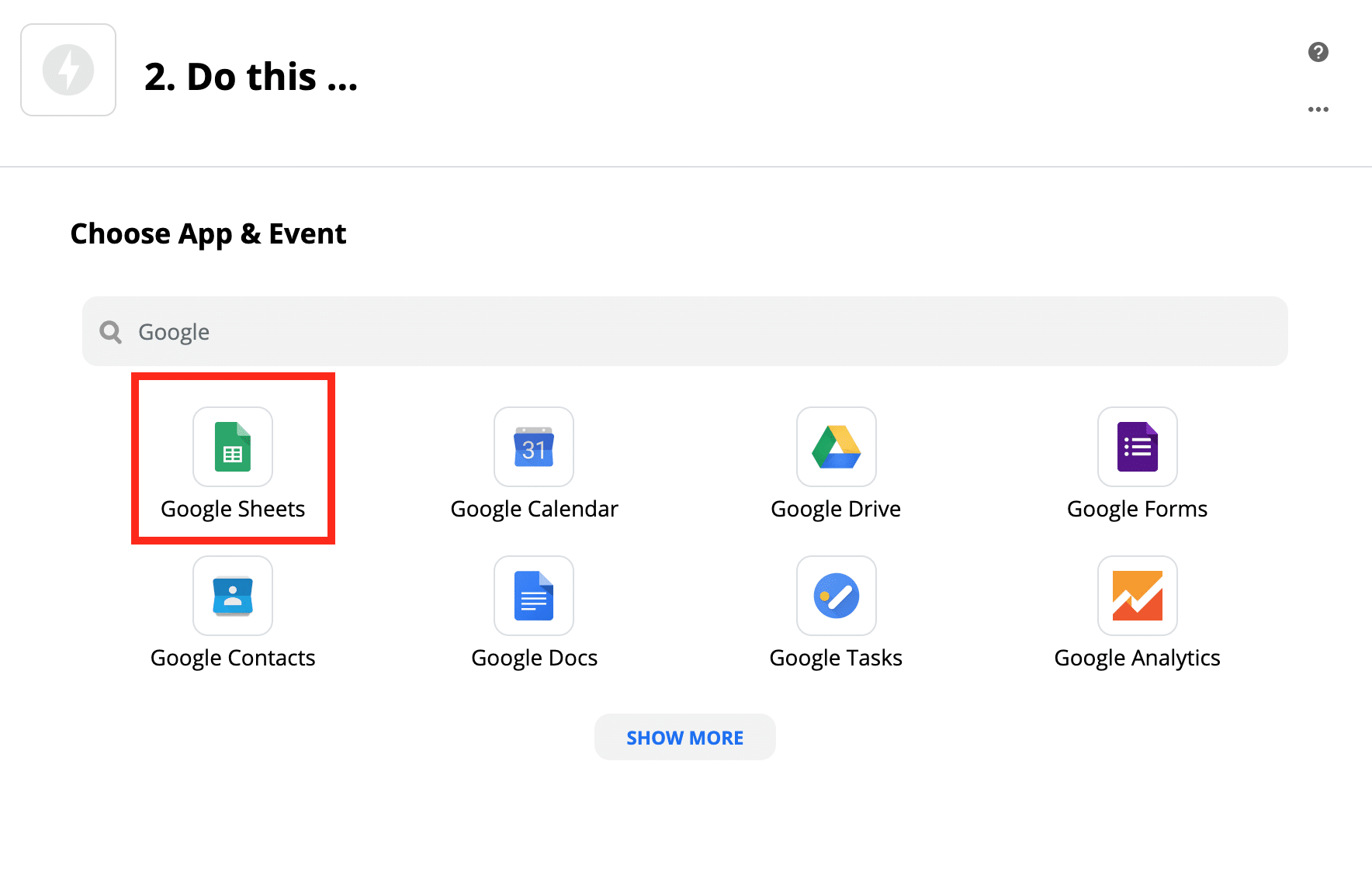 アクションステップで「Google Sheets」を選択する