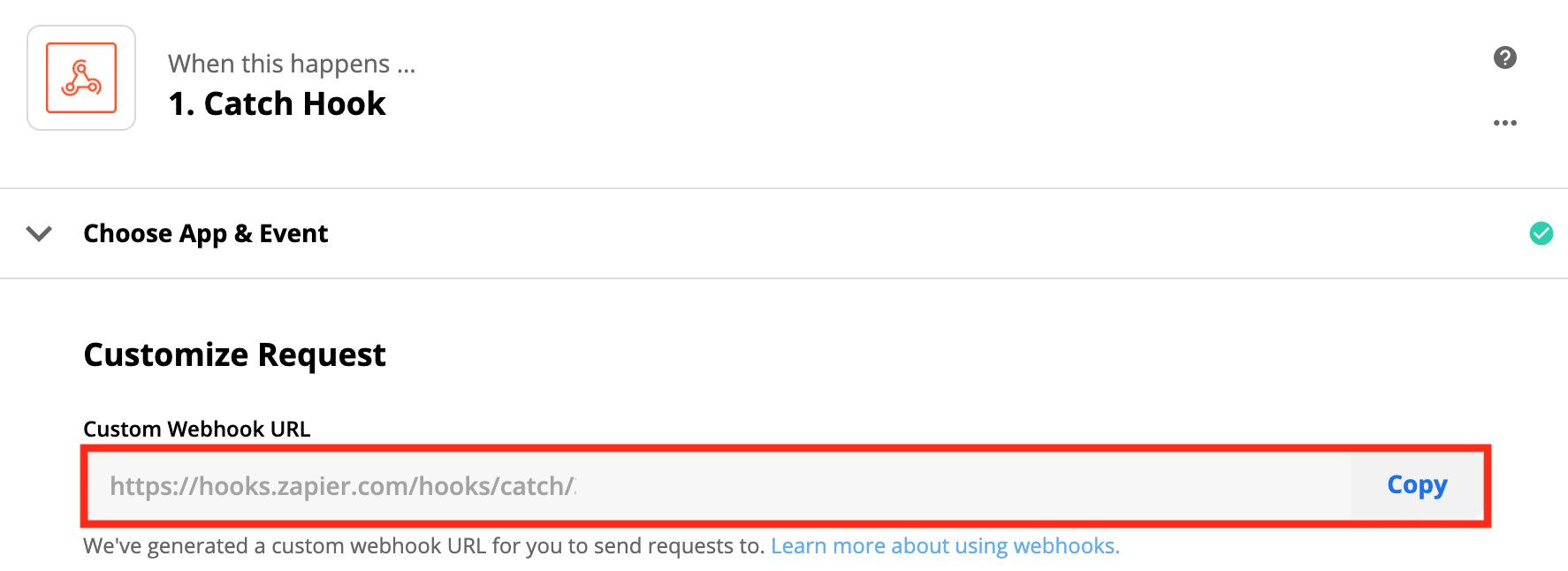Custom Webhook URLをコピーする