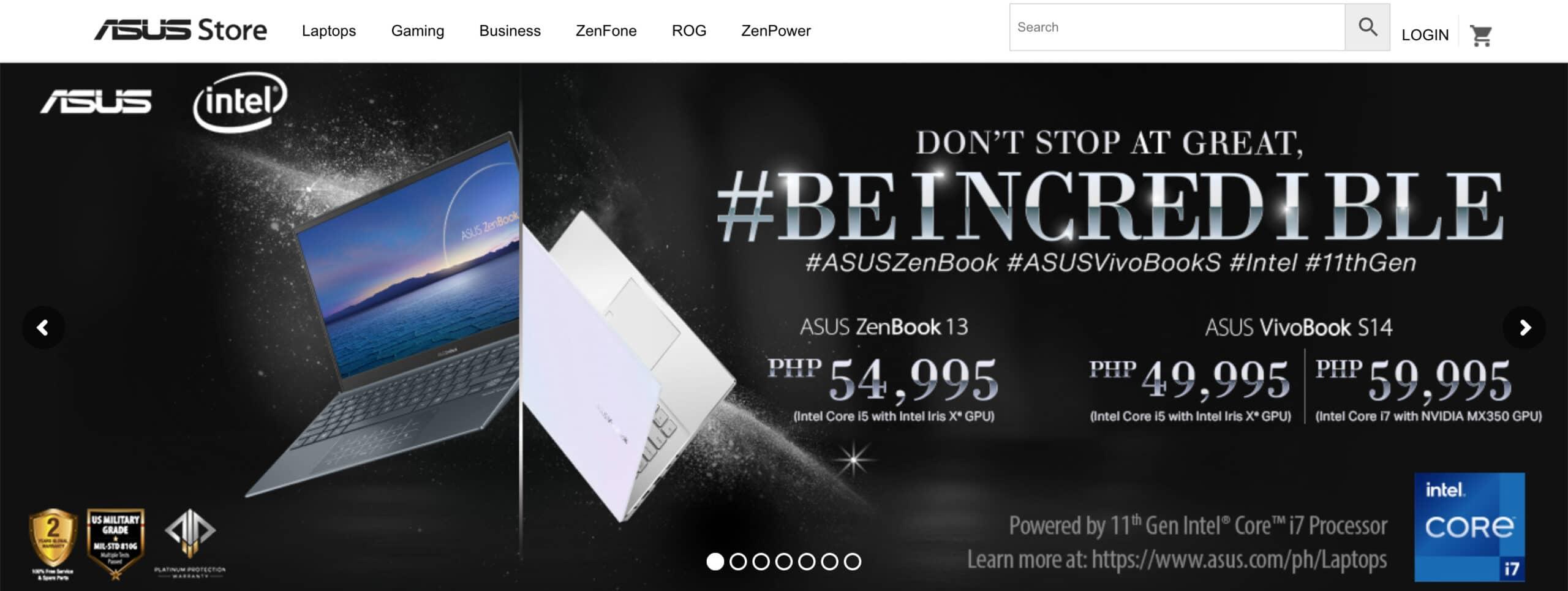 ASUSのオインラインストア(フィリピン) scaled