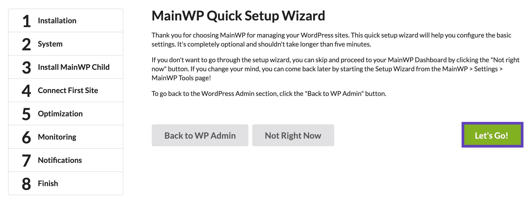 MainWP Quick Setup Wizard