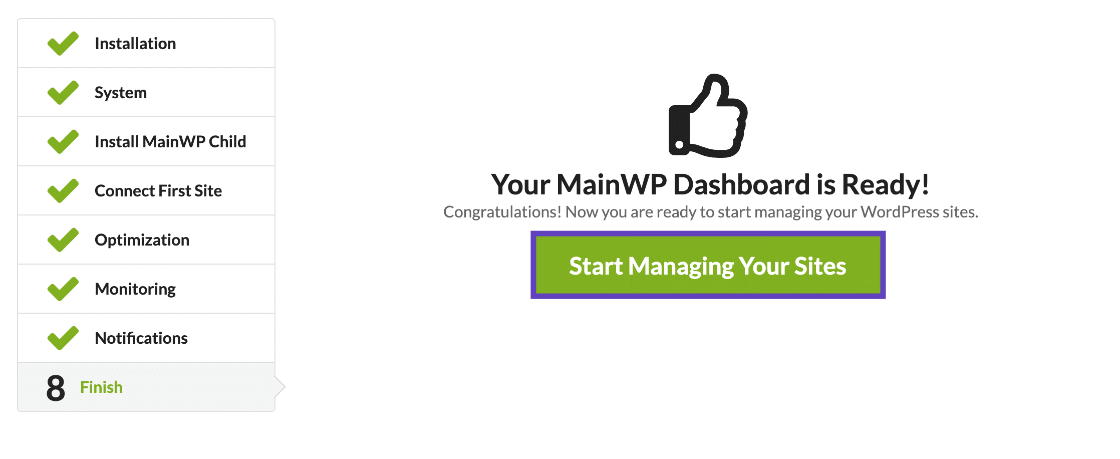 Your MainWP Dashboard is Ready