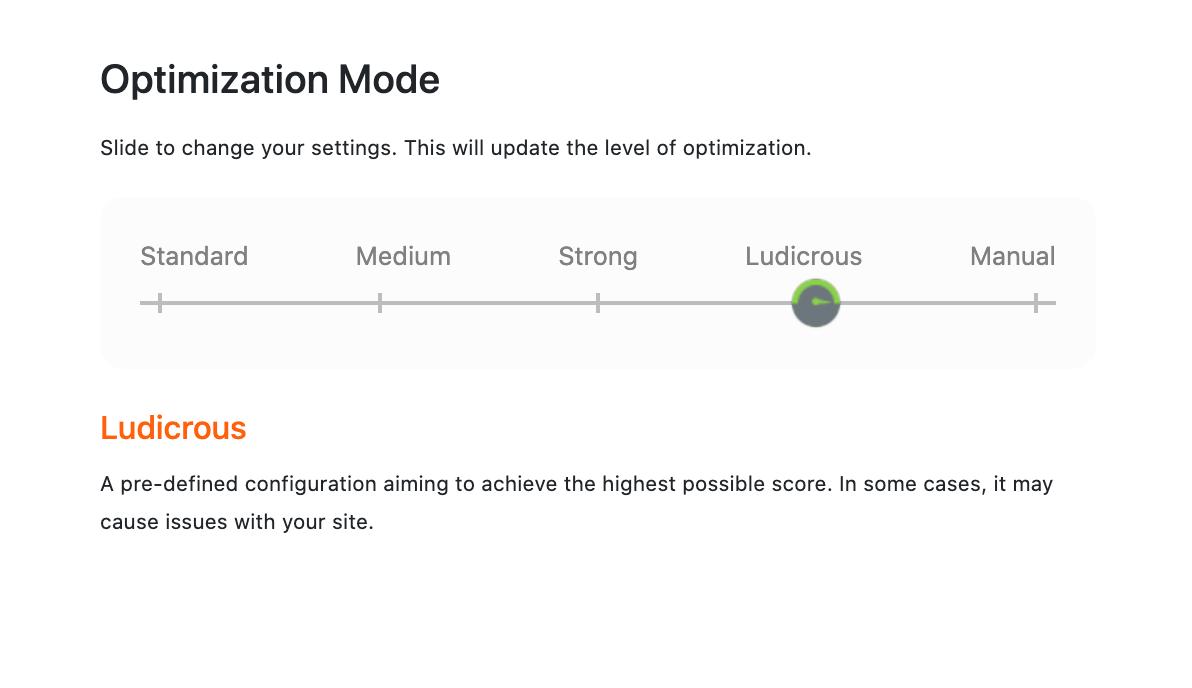 NitroPackのOptimization Mode設定