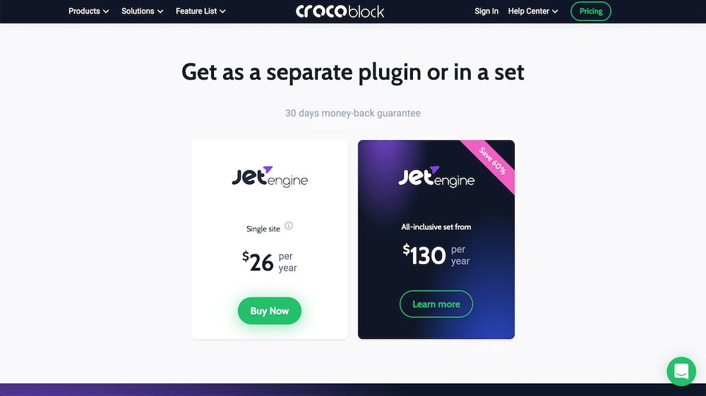 Crocoblock JetEngineの購入ボタン
