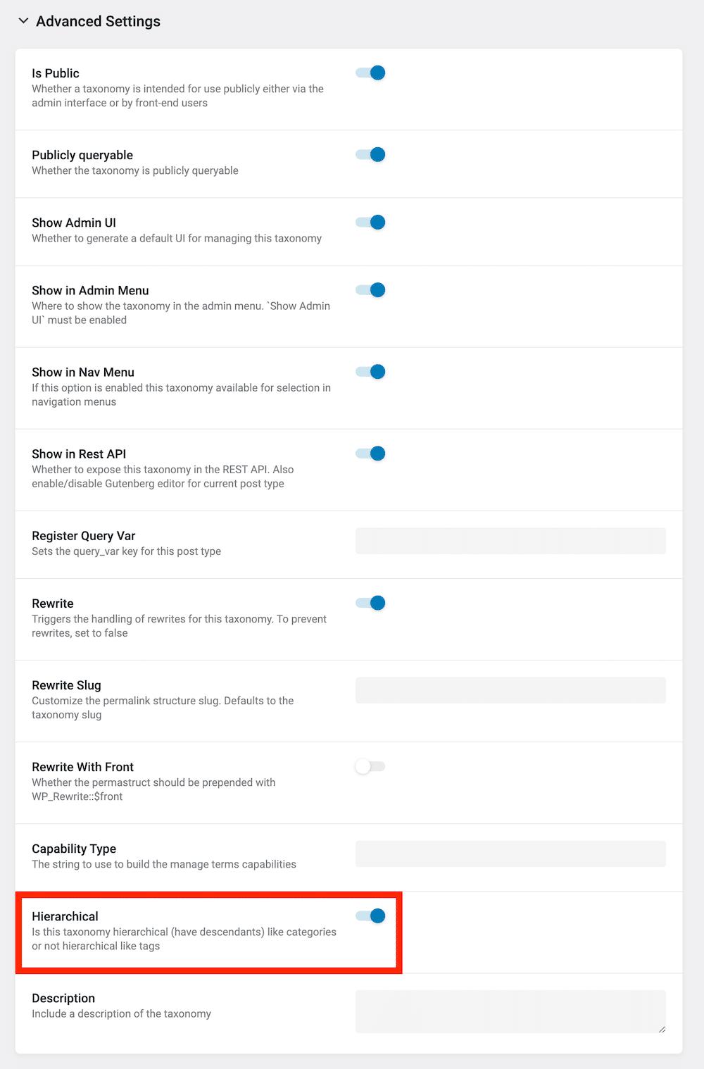 JetEngineのTaxonomyのAdvanced Settings