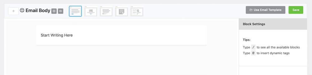 FluentCRM ステップメールの本文設定