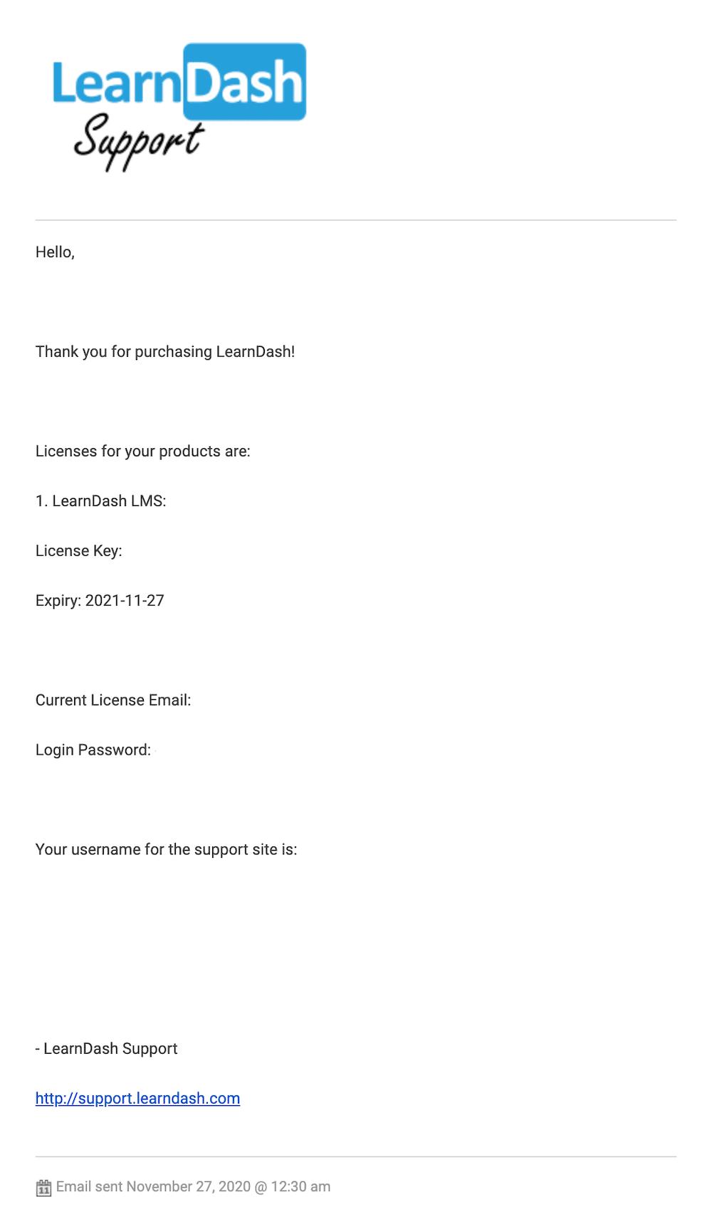 LearnDashの購入確認メール