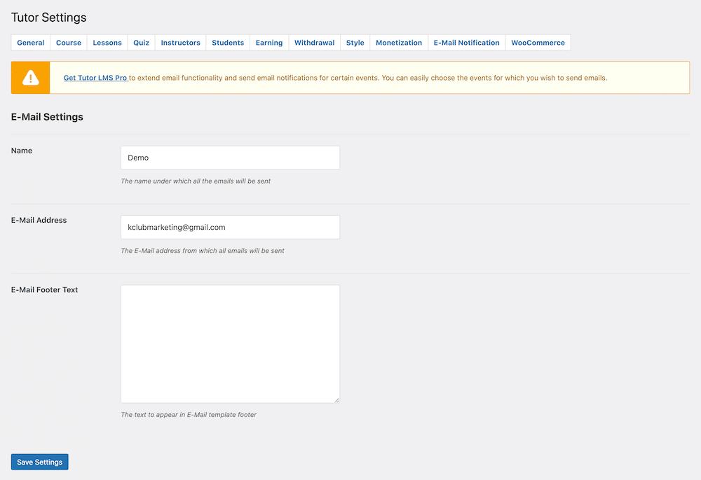 Tutor LMS E Mail Notification設定